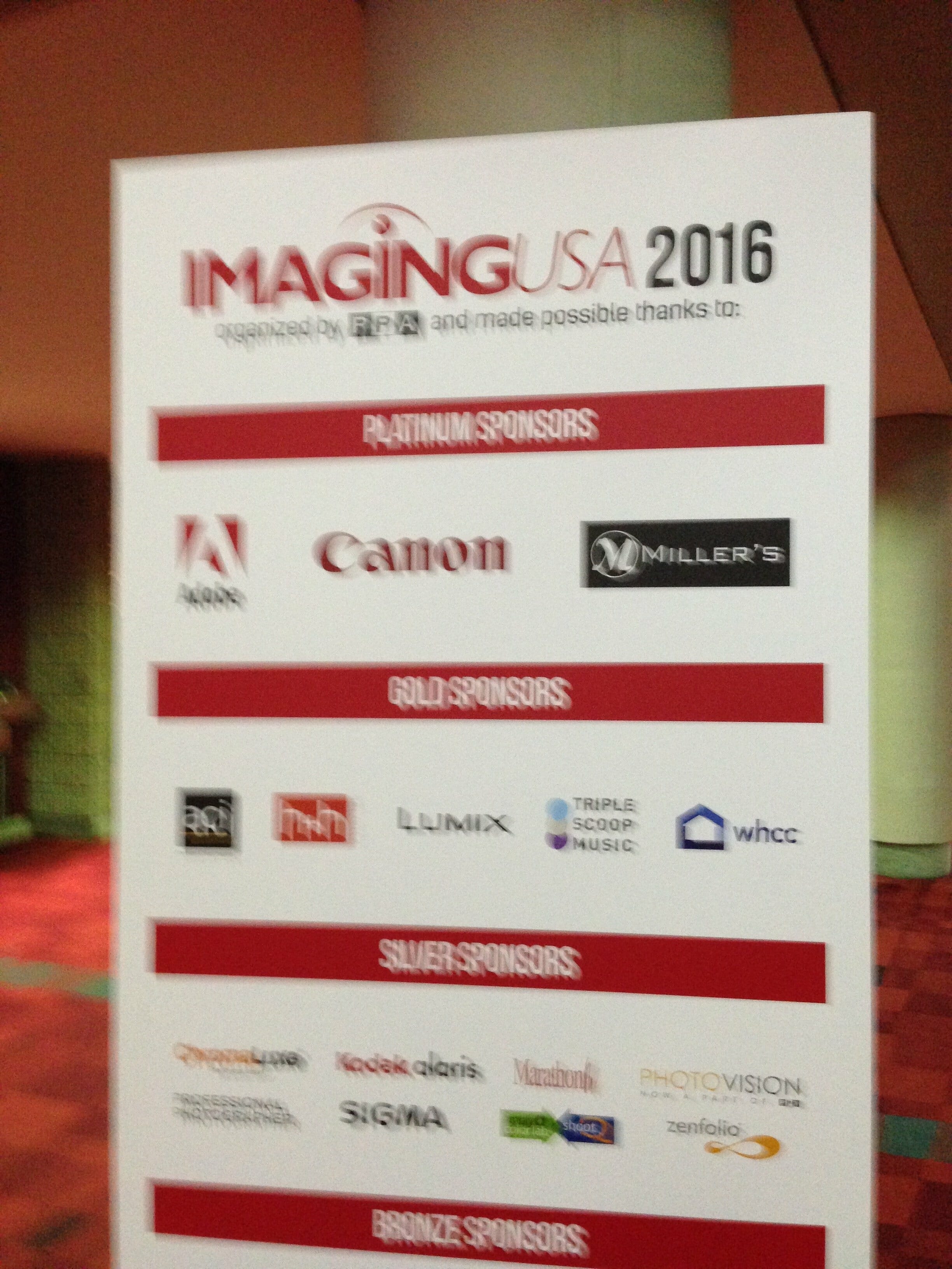 Imaging USA 2016 Review sign with information