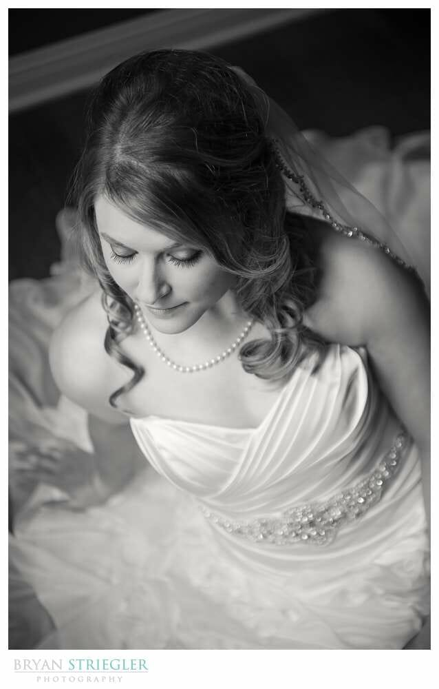 Fayetteville Bridal Portraits black and white high angle