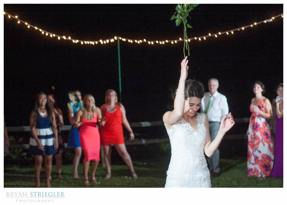 Whitney Mountain Lodge wedding bouquet toss