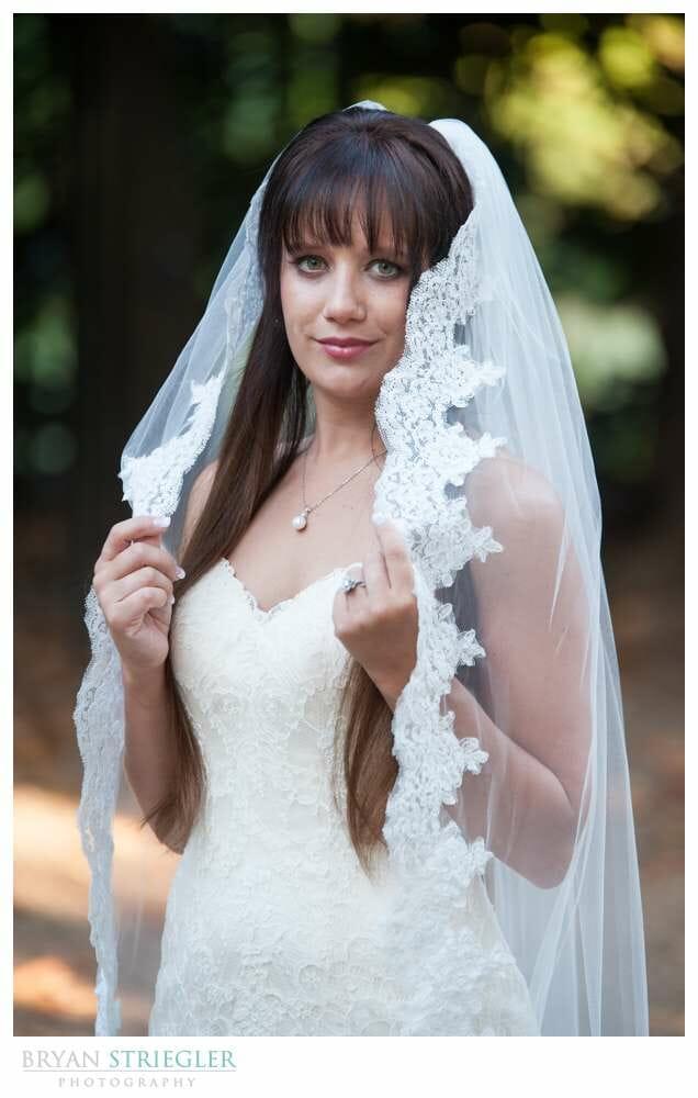 Ashley's Arkansas Bridal Portraits at Magnolia Gardens with veil