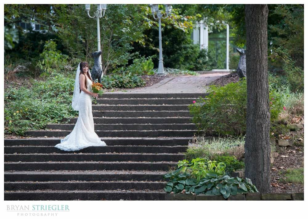 Ashley's Arkansas Bridal Portraits at Magnolia Gardens stairs