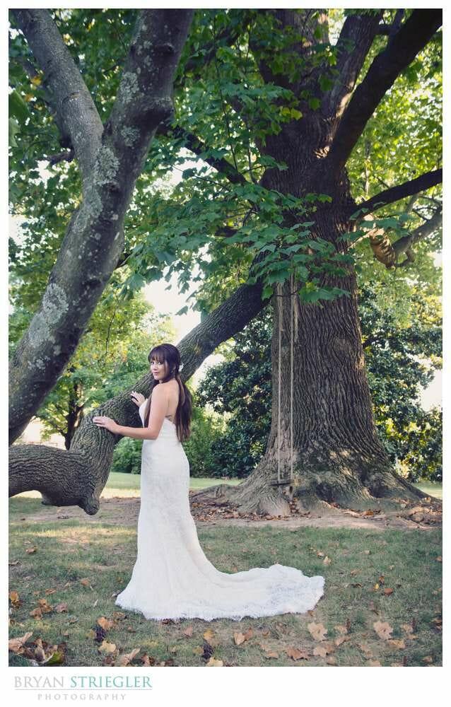 Ashley's Arkansas Bridal Portraits at Magnolia Gardens on branch