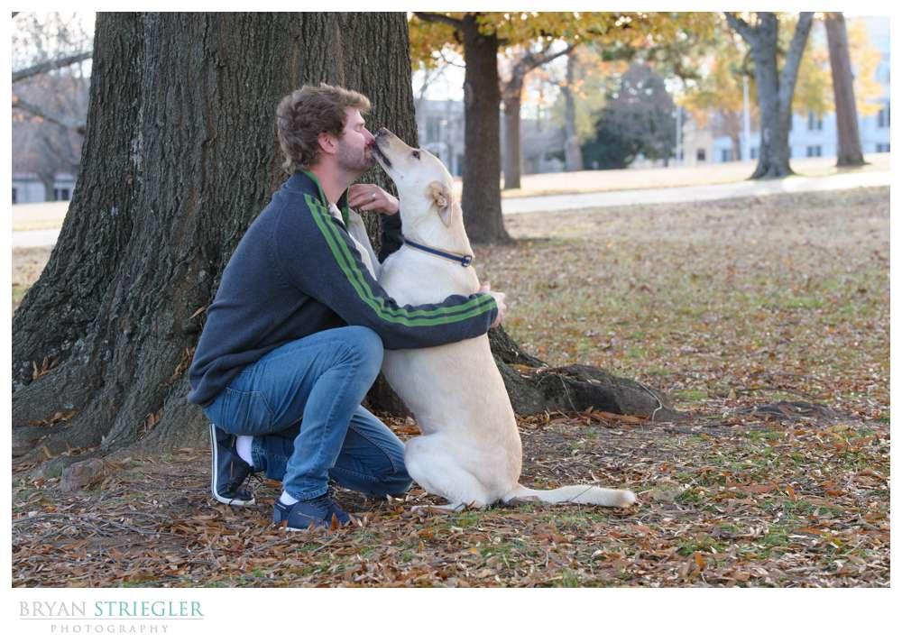 Post wedding portraits dog licking face