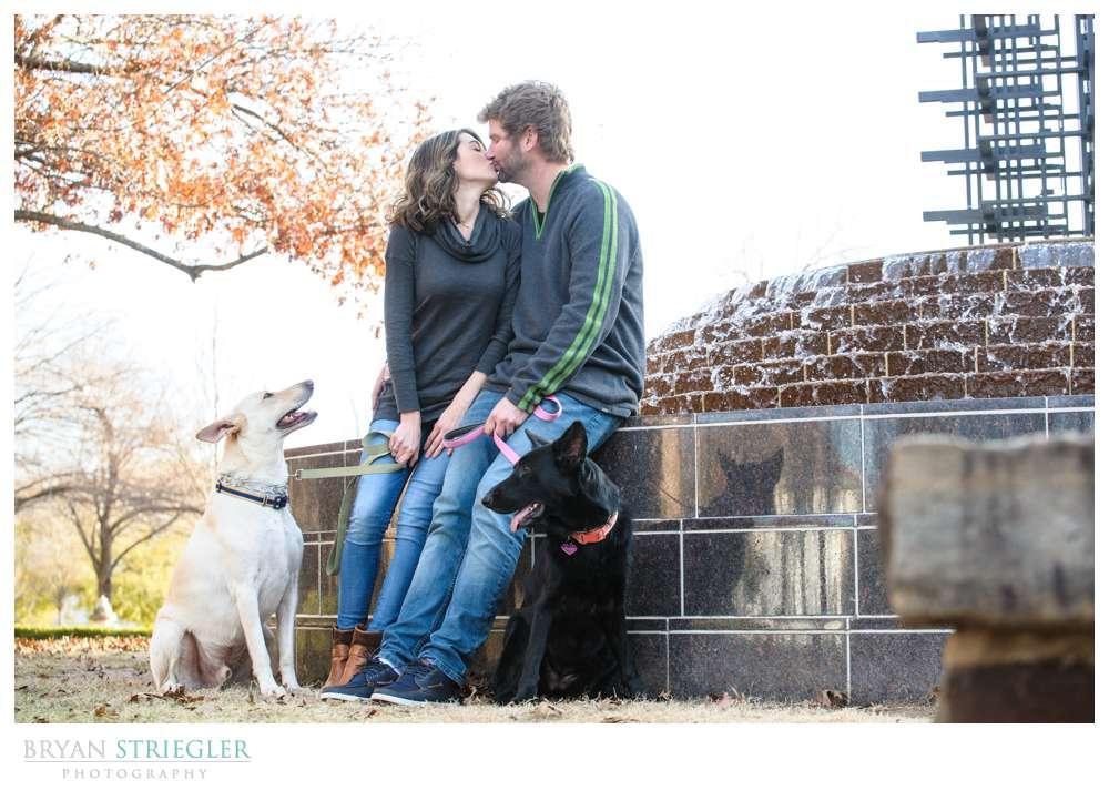 Post wedding portraits kissing