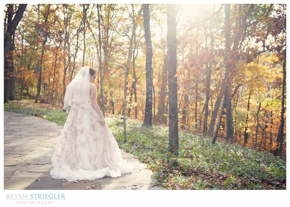 Eureka Springs Wedding Photographer bride with sun and trees Thornecrown chapel