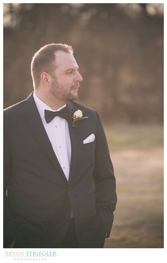 Fayetteville Wedding Photographer groom portrait warm colors