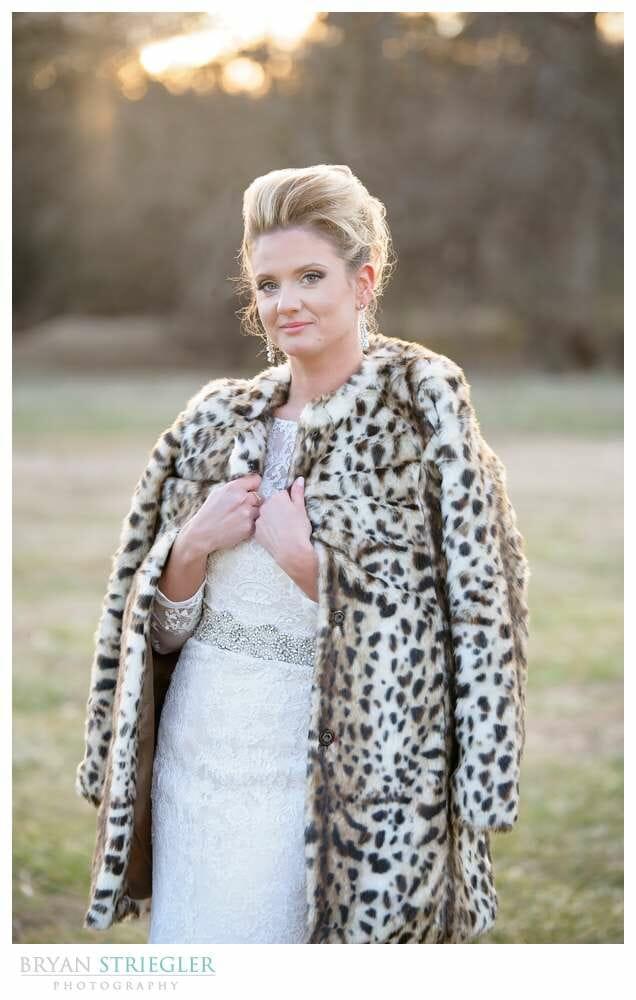 Fayetteville Wedding Photographer bride with coat