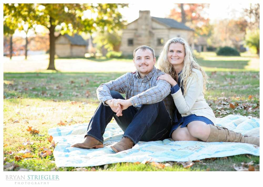 Shooting Winter Engagement Photos on blanket