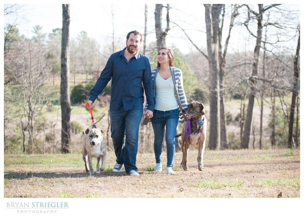 Unique Engagement Photos walking dogs