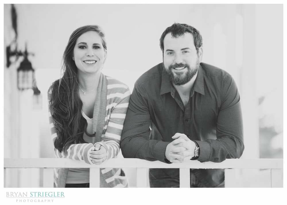 Unique Engagement Photos leaning on porch