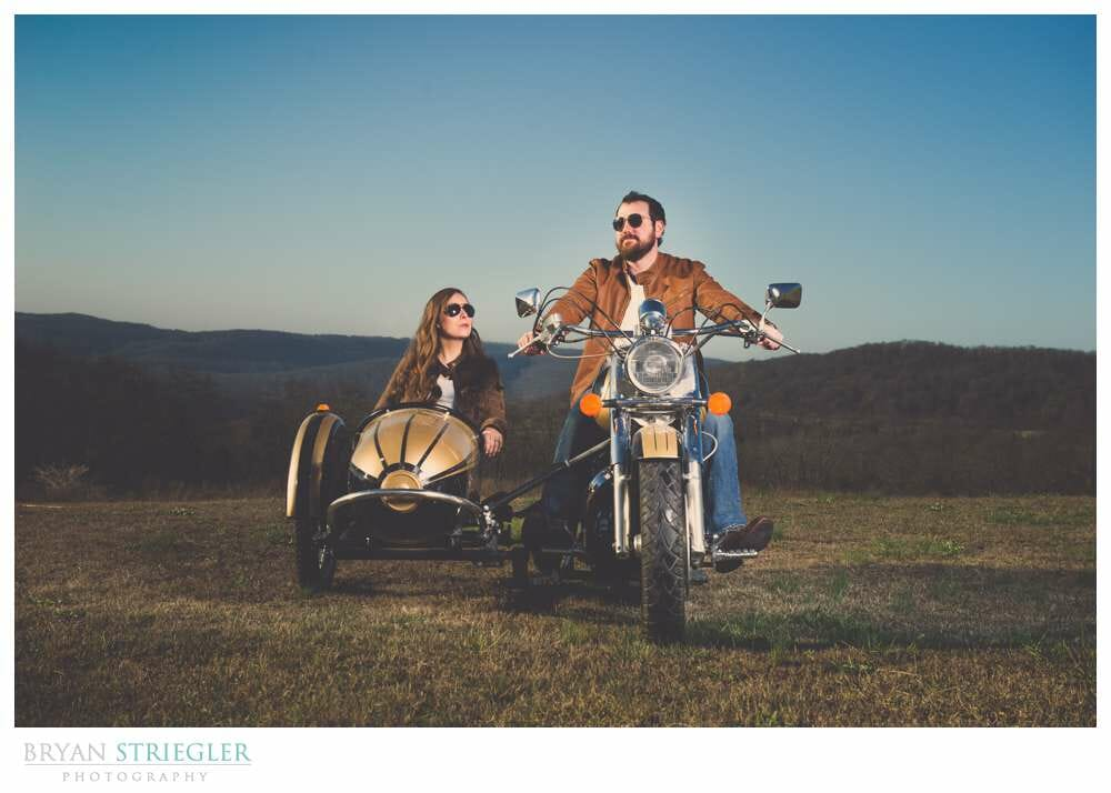 Unique Engagement Photos on motorcycle