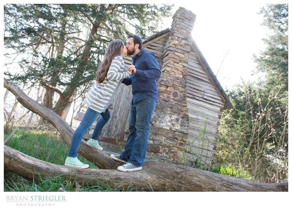 Unique Engagement Photos in front of old cabin