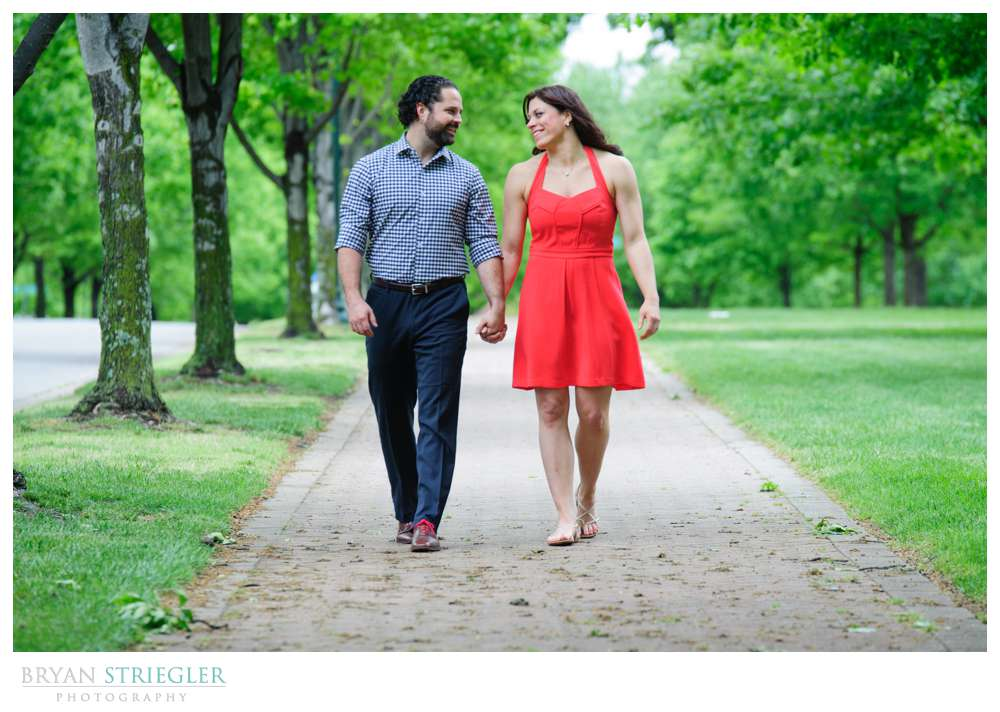 Arkansas Crossfit Engagement Photos walking in park