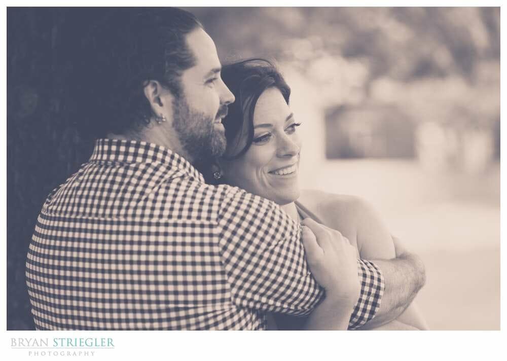 Arkansas Crossfit Engagement Photos hugging black and white