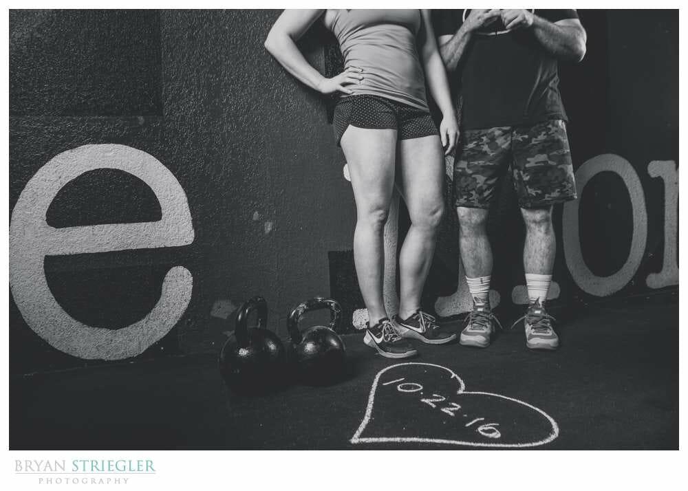 Arkansas Crossfit Engagement Photos date in chalk