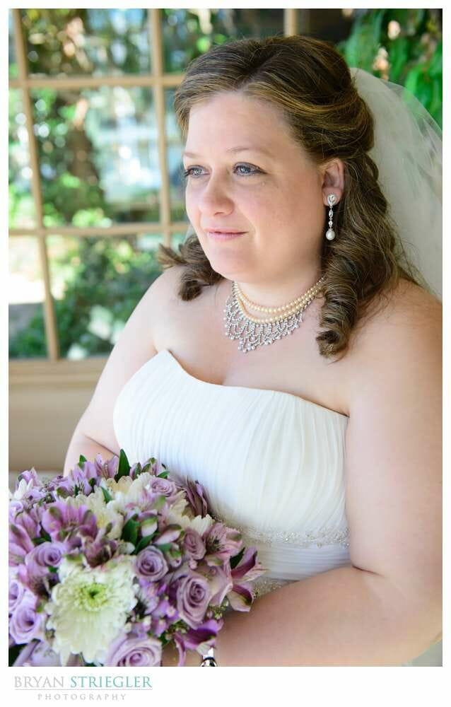 Linda and Chuck's Springdale Country Club Wedding bride looking off