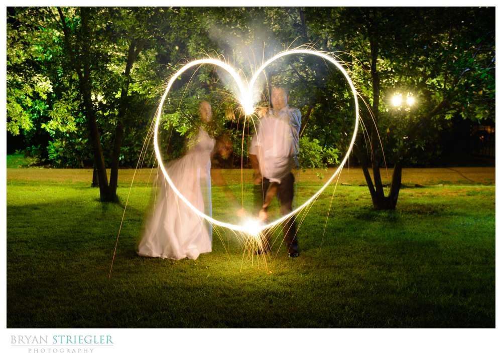 making a heart with sparklers