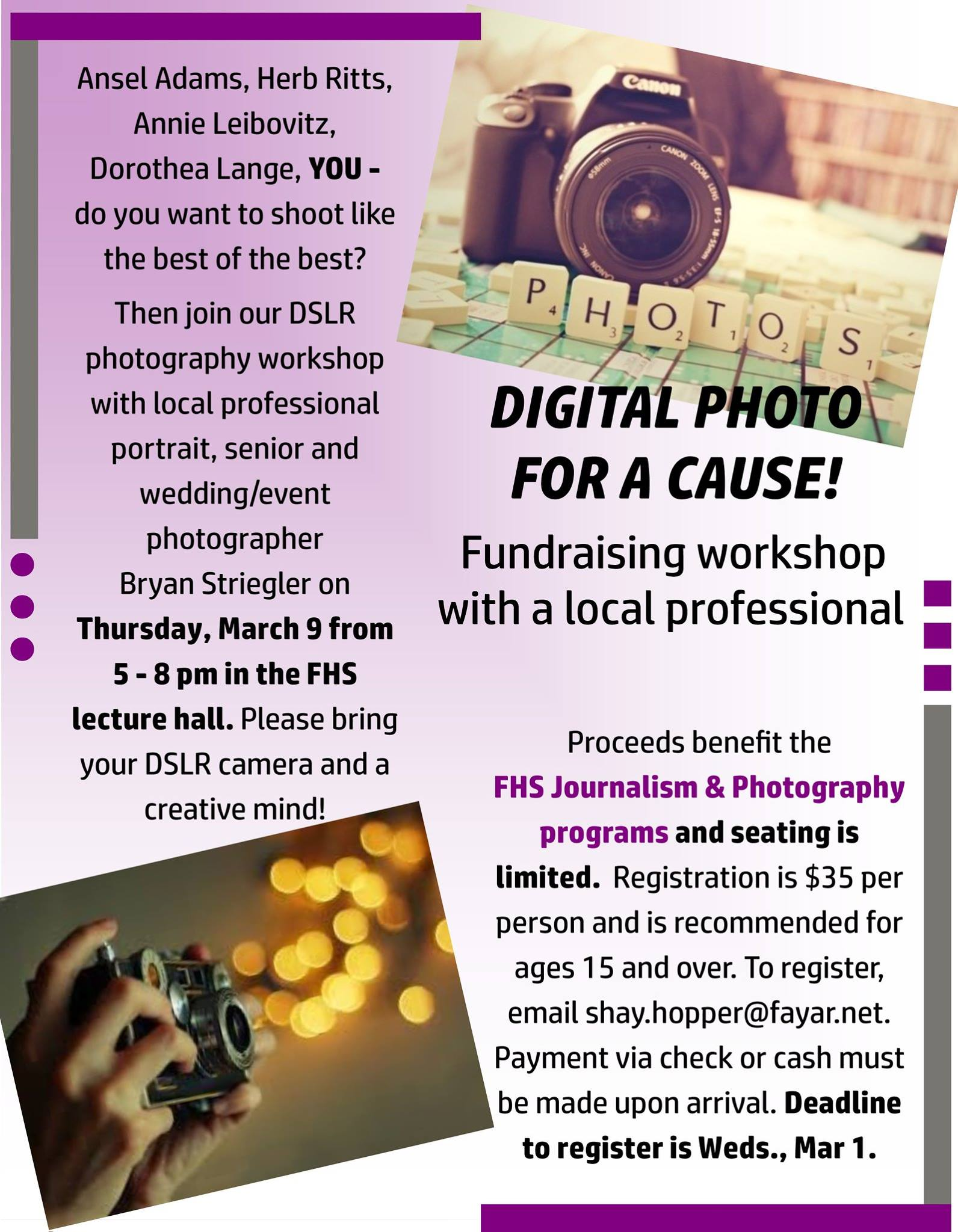 Learn how to use your camera and help Fayetteville High School