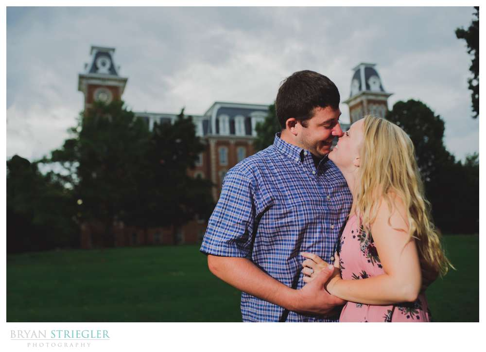 engagement photo in front of Old Main
