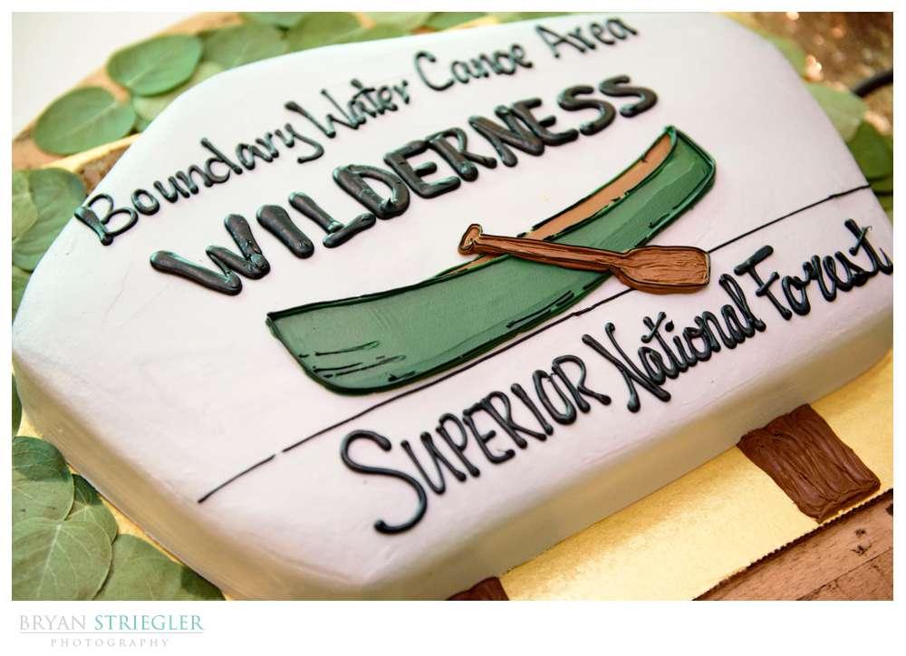 groom's cake with canoe