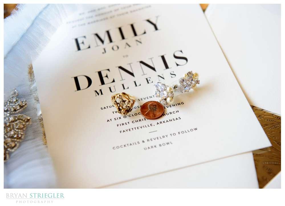 earrings on wedding announcement