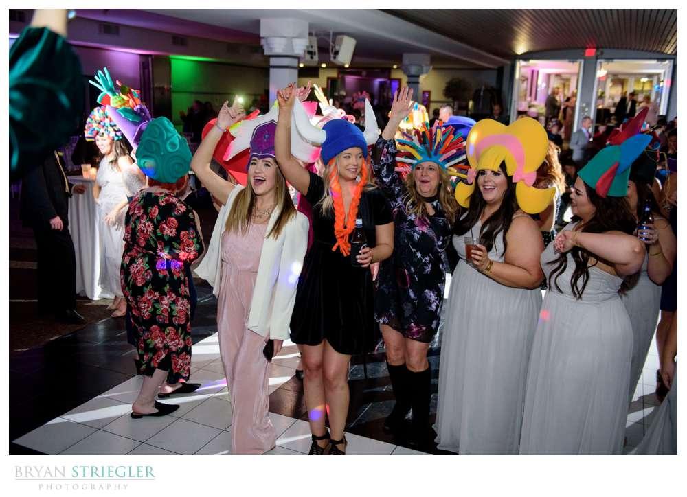 crazy wedding reception with wigs