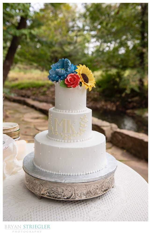 wedding cake with flowers on top