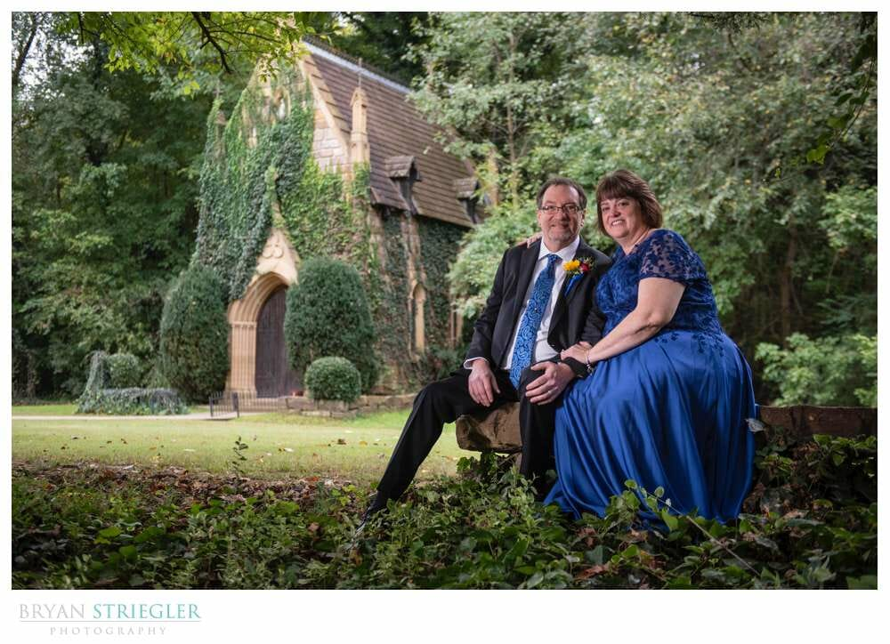 wedding couple in front of St. Catherine's at Bell Gable
