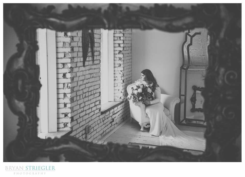 bridal portrait in a mirror