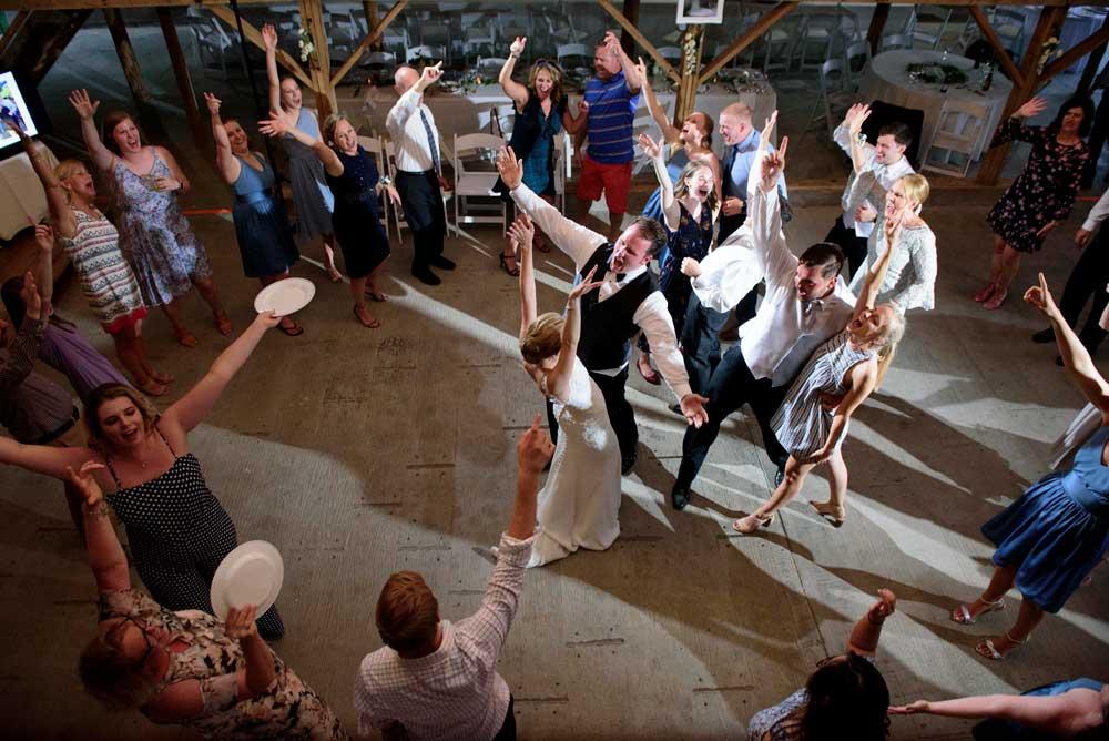 fun dancing at wedding