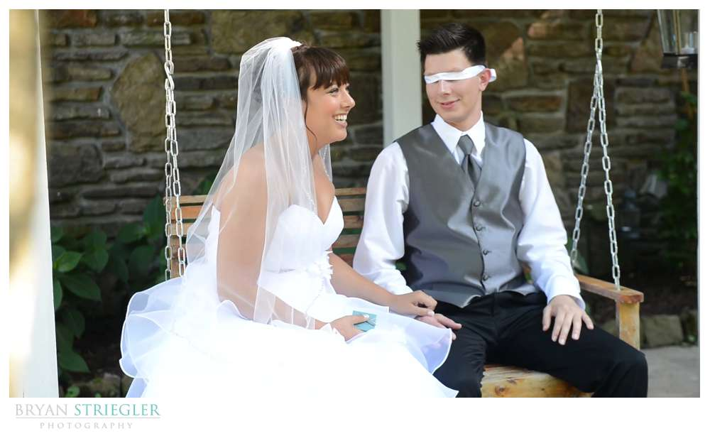 blindfolded first look with groom