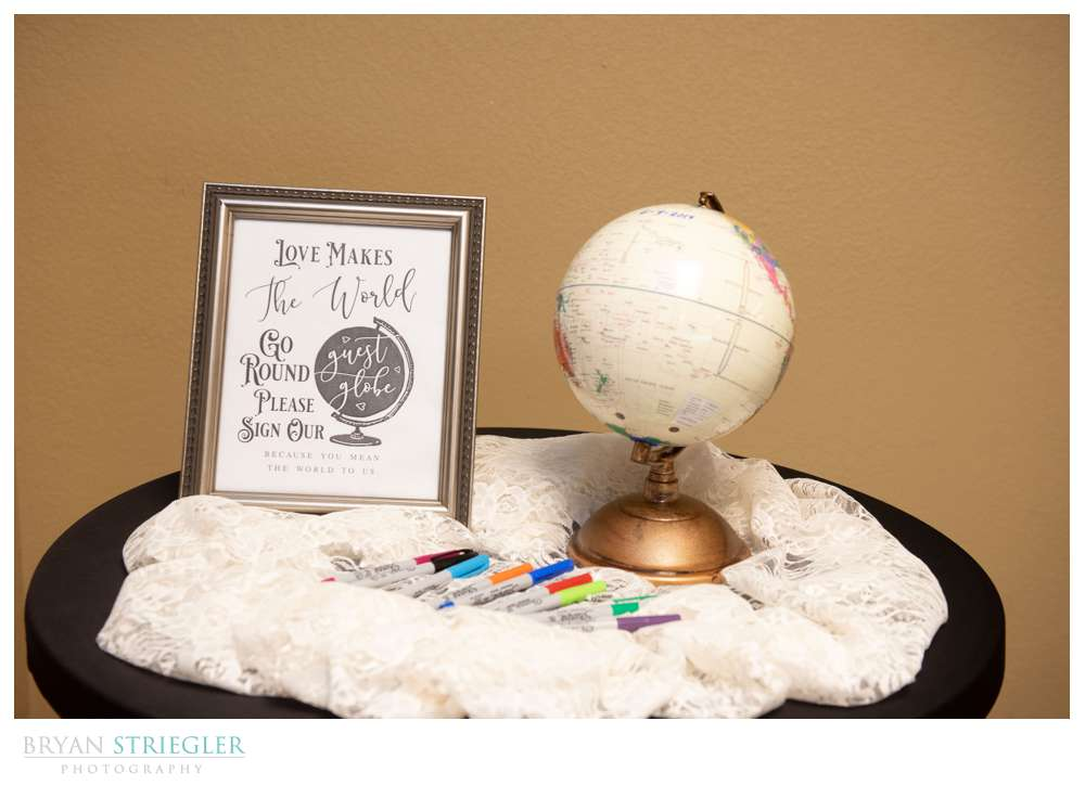 globe for guest book at wedding