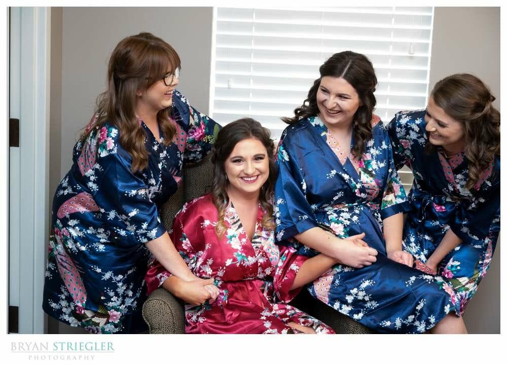 bridesmaids hanging out
