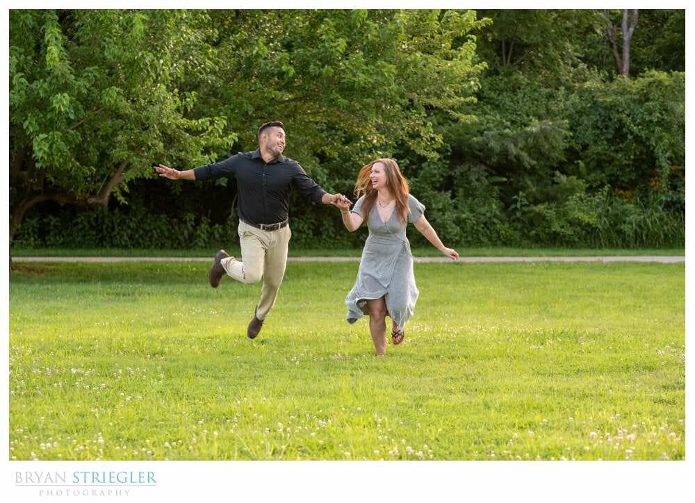 engaged couple having fun
