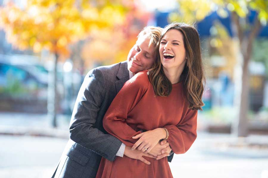 engagement photo laughing